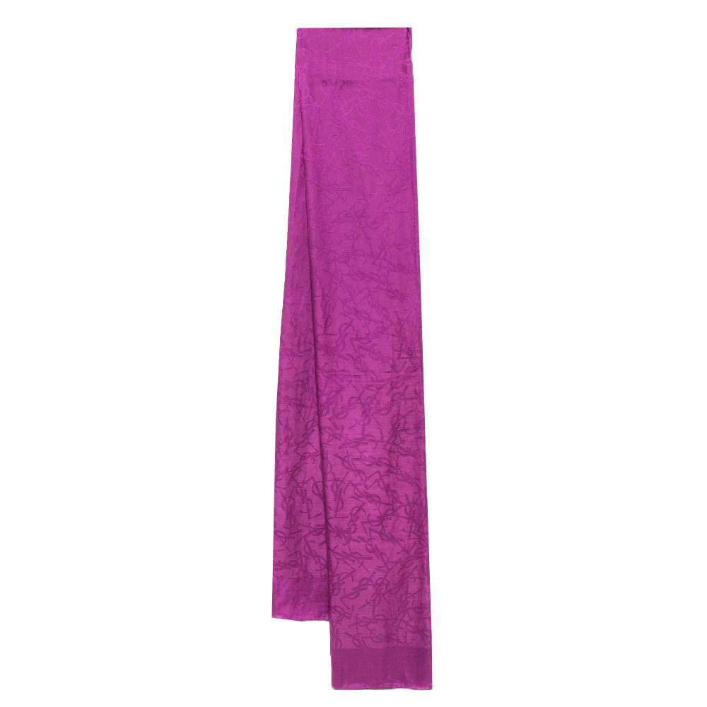 Saint Laurent Paris Purple Logo Monogram Silk Scarf