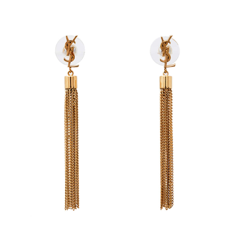 Saint Laurent Paris Monogram Mini Tassel Earrings