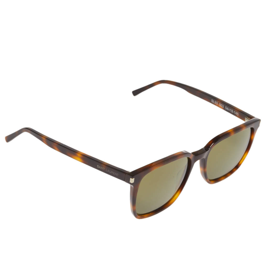 Saint Laurent Paris Brown Havana/ Green SL93 Wayfarer Sunglasses