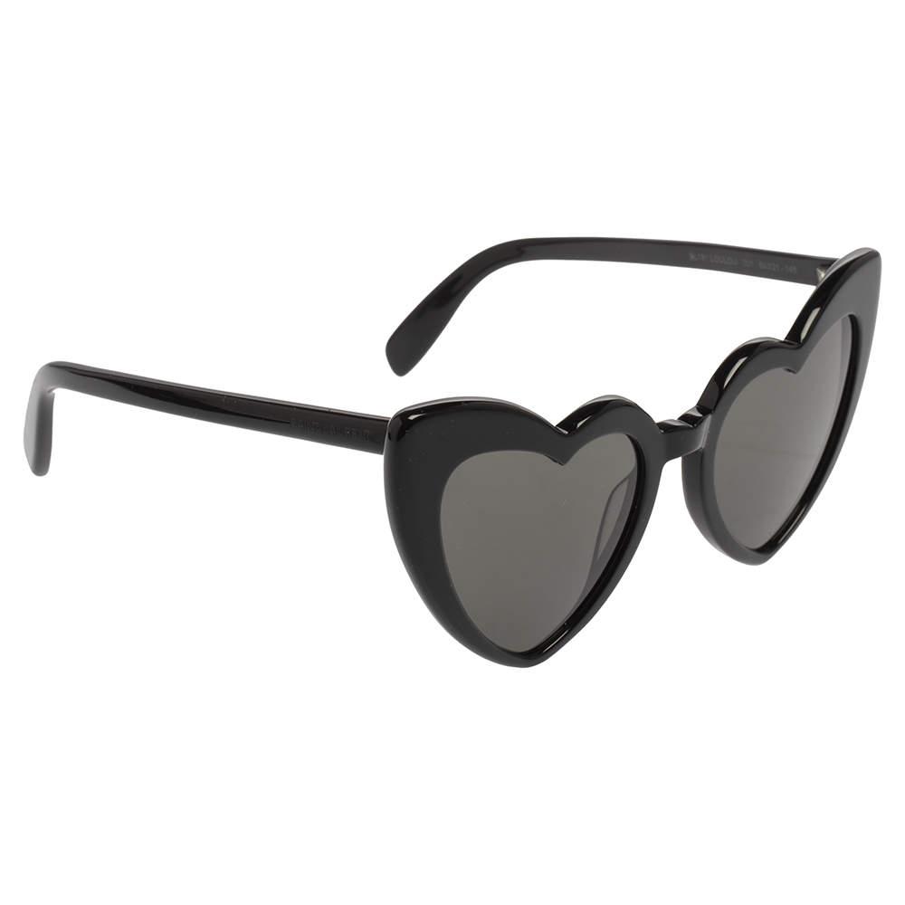 Saint Laurent Black Acetate SL181 Loulou Heart Heart Sunglasses