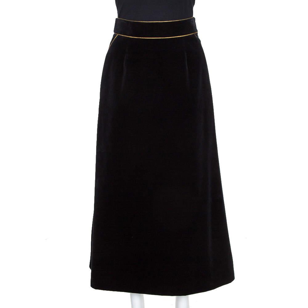 Saint Laurent Paris Black Velvet Midi Skirt M