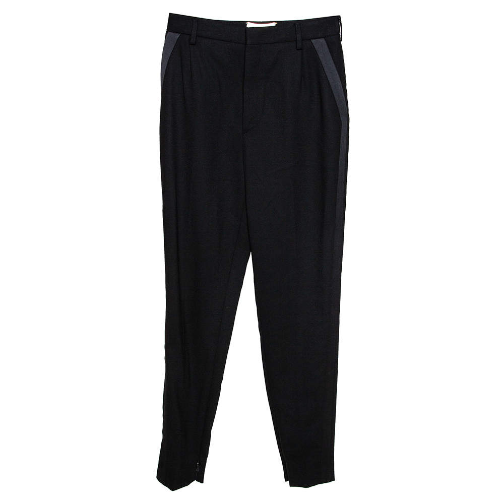 Saint Laurent Paris Black Wool Tapered Pants M