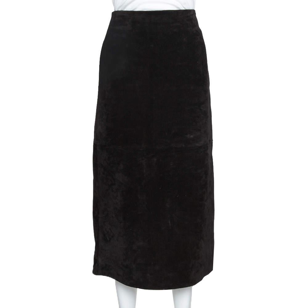 Saint Laurent Paris Black Suede Fitted Midi Skirt S