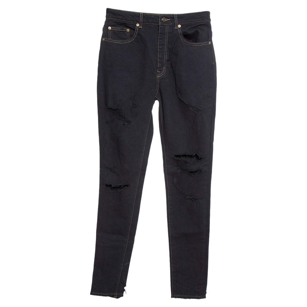 Saint Laurent Paris Black Denim Distressed Slim Fit Jeans M