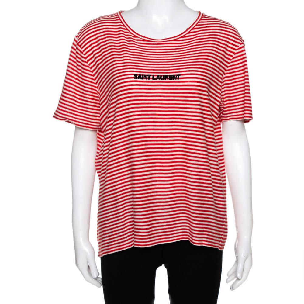 Saint Laurent Paris Red & White Striped Knit Logo Detail T Shirt M