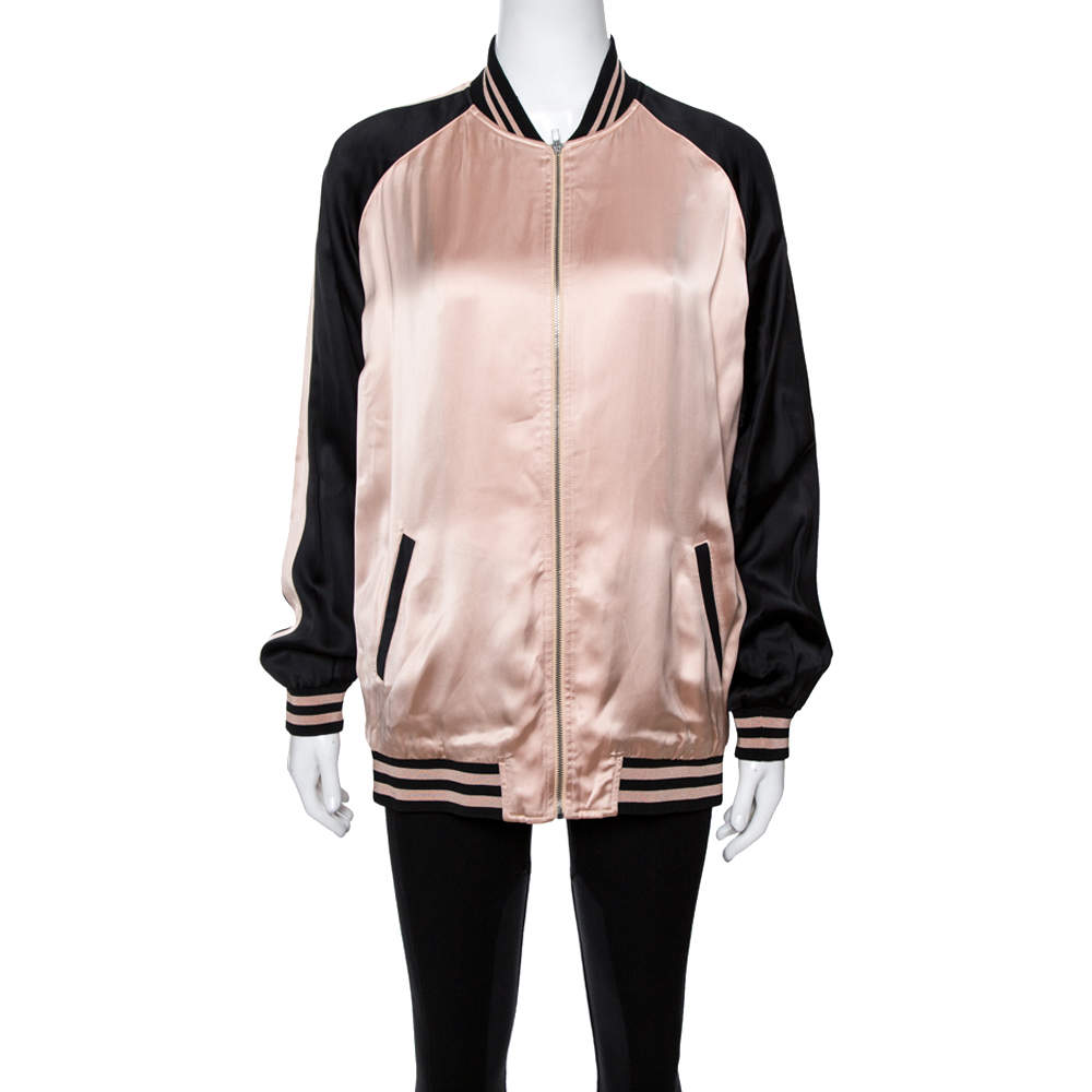 Saint Laurent Paris Champagne Pink Oversized Teddy Baseball Jacket M