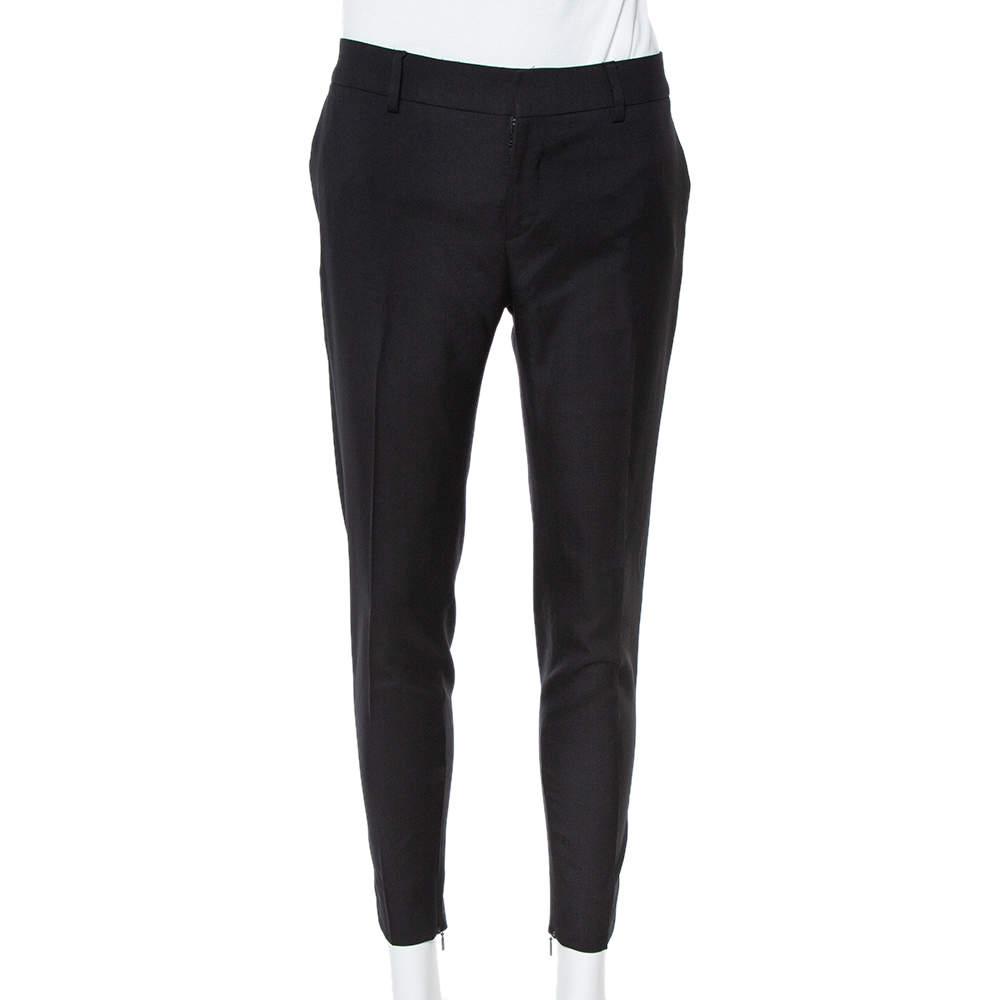Saint Laurent Paris Black Wool Tailored Trousers S