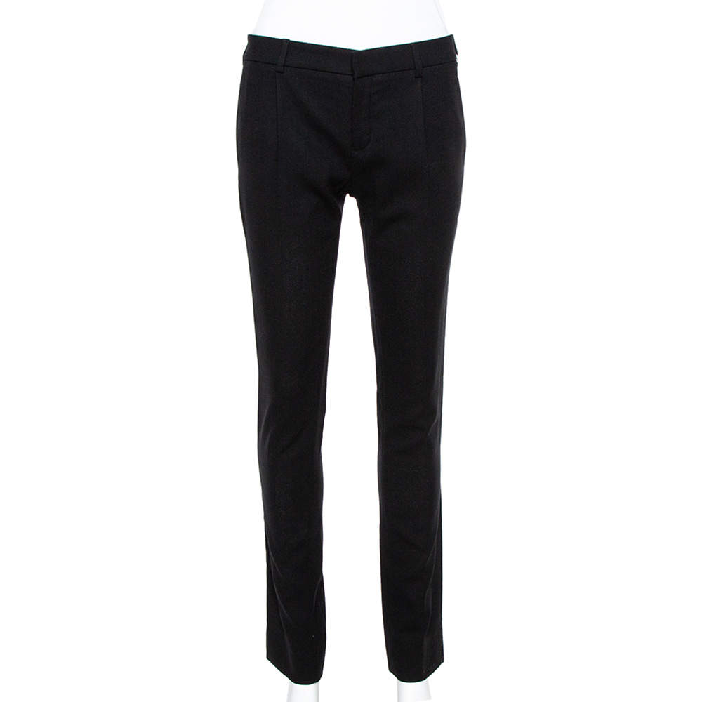 Saint Laurent Paris Black Wool Crepe Tailored Trousers S