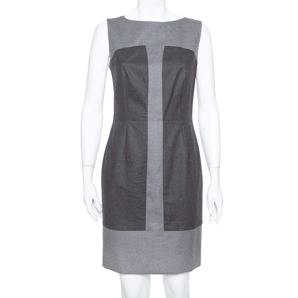 Saint Laurent Paris Grey Wool Paneled Sleeveless Sheath Dress M