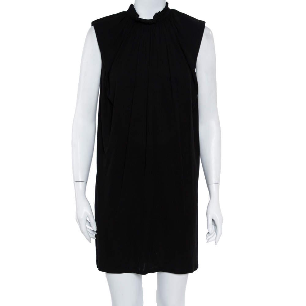 Saint Laurent Paris Black Knit Draped Neck Shift Dress M