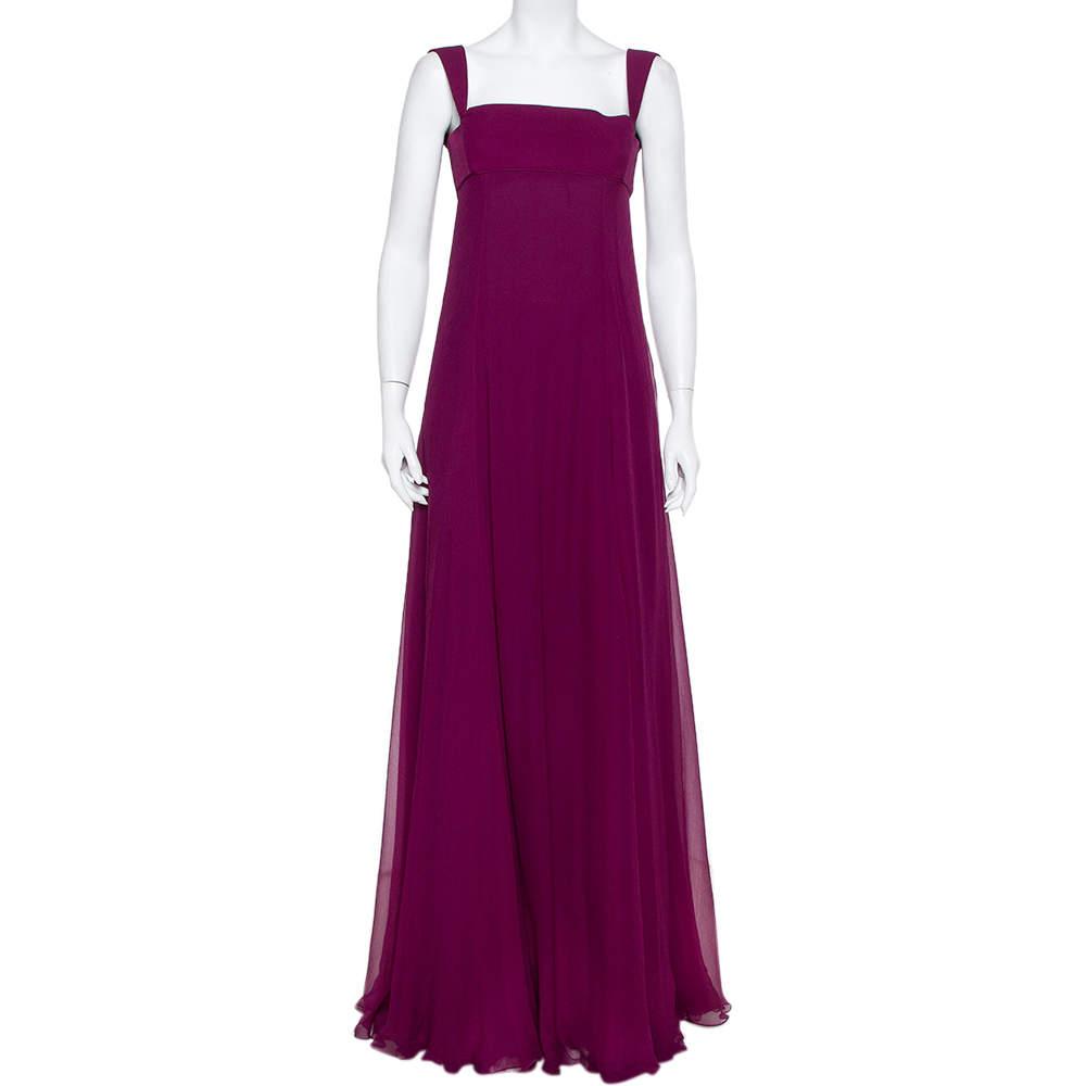 فستان طويل إيف سان لوران بلا أكمام شيفون حرير بنفسجي إصدار سوار مقاس صغير