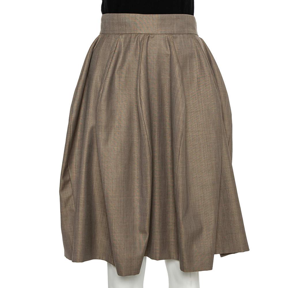 Yves Saint Laurent Beige Wool & Silk A-Line Skirt S