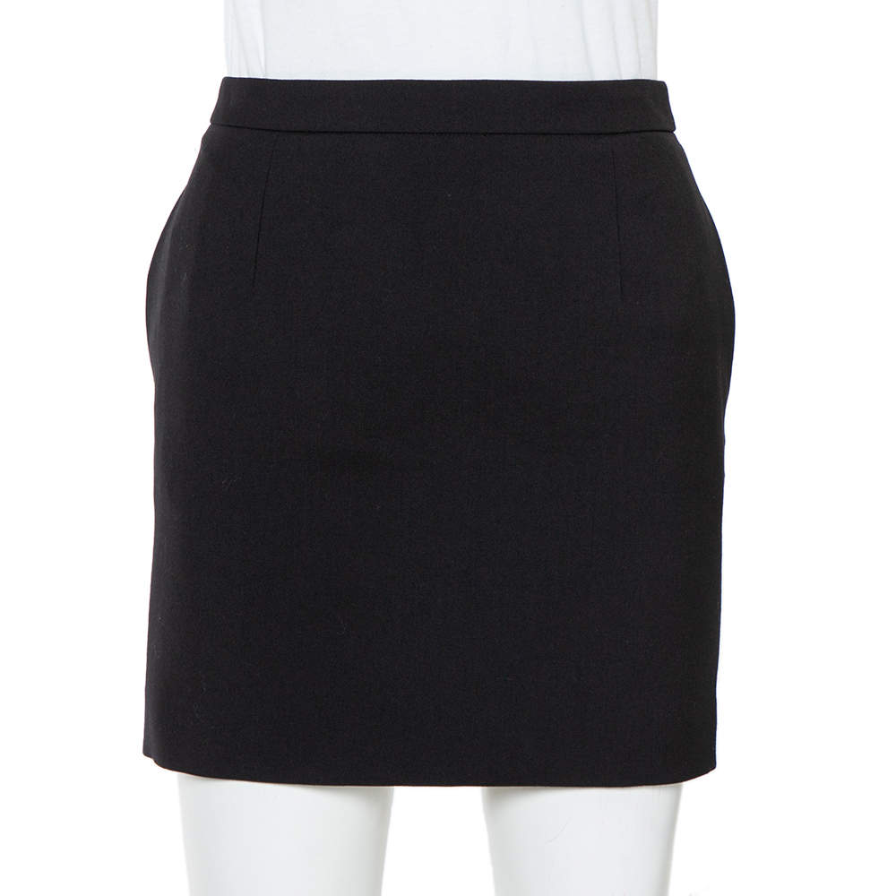 Saint Laurent Paris Black Wool Mini Skirt S