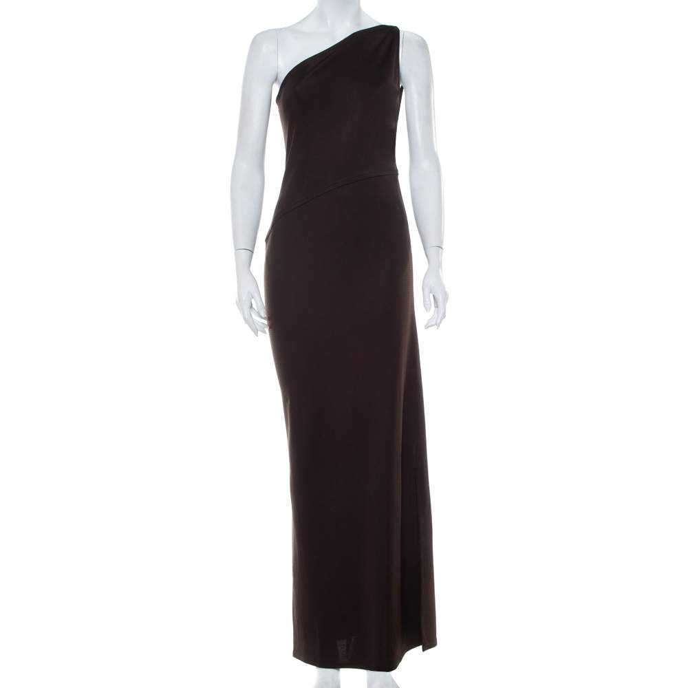 Yves Saint Laurent Rive Gauche Brown Knit One Shoulder Maxi Dress M