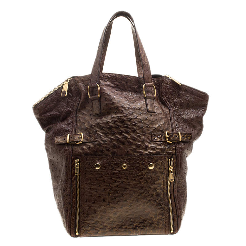 Yves Saint Laurent Brown/Gold Effect Ostrich Large Downtown Tote