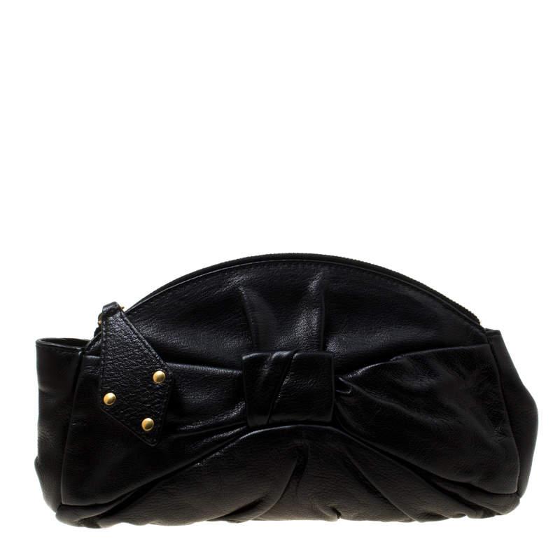 Yves Saint Laurent Black Leather Clutch