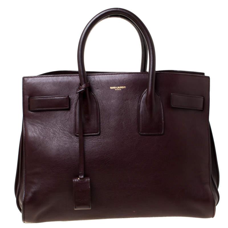 حقيبة يد سان لوران باريس ساك دو جور كلاسيك صغيرة جلد عنابية