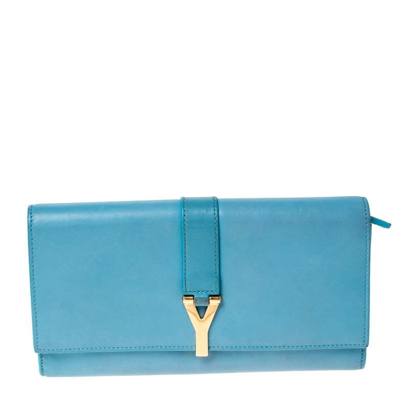 Saint Laurent Paris Light Blue Leather Y Line Flap Wallet