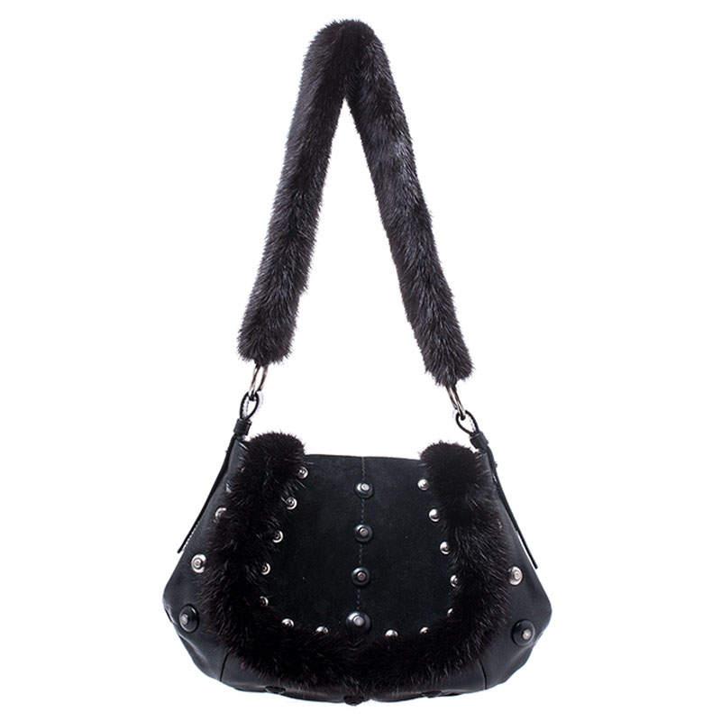 Yves Saint Laurent Black Leather/Suede and Fur Studded Shoulder Bag