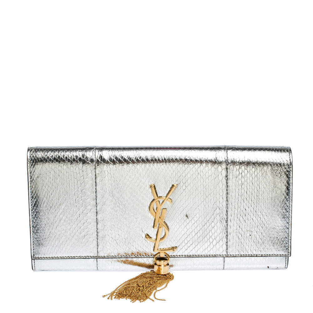 Saint Laurent Paris Silver Python Kate Tassel Clutch