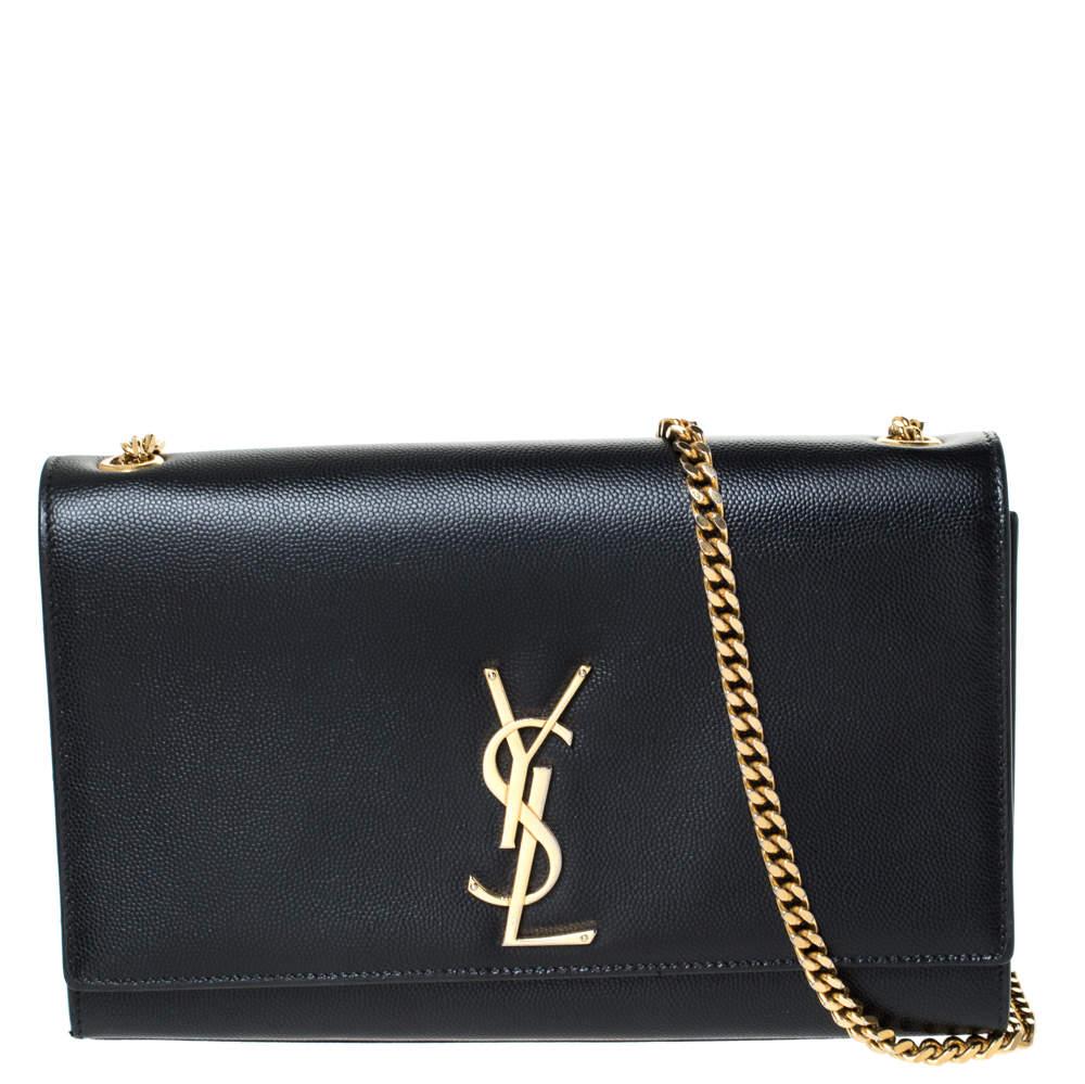 Saint Laurent Paris Black Leather Medium Kate Shoulder Bag