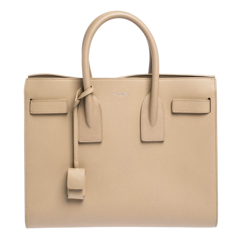 Saint Laurent Beige Leather Small Classic Sac De Jour Tote