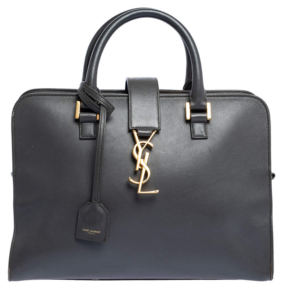 Saint Laurent Dark Grey Leather Small Cabas Chyc Tote