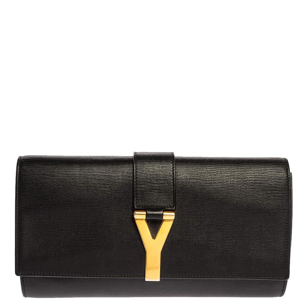 Saint Laurent Black Leather Y Line Clutch
