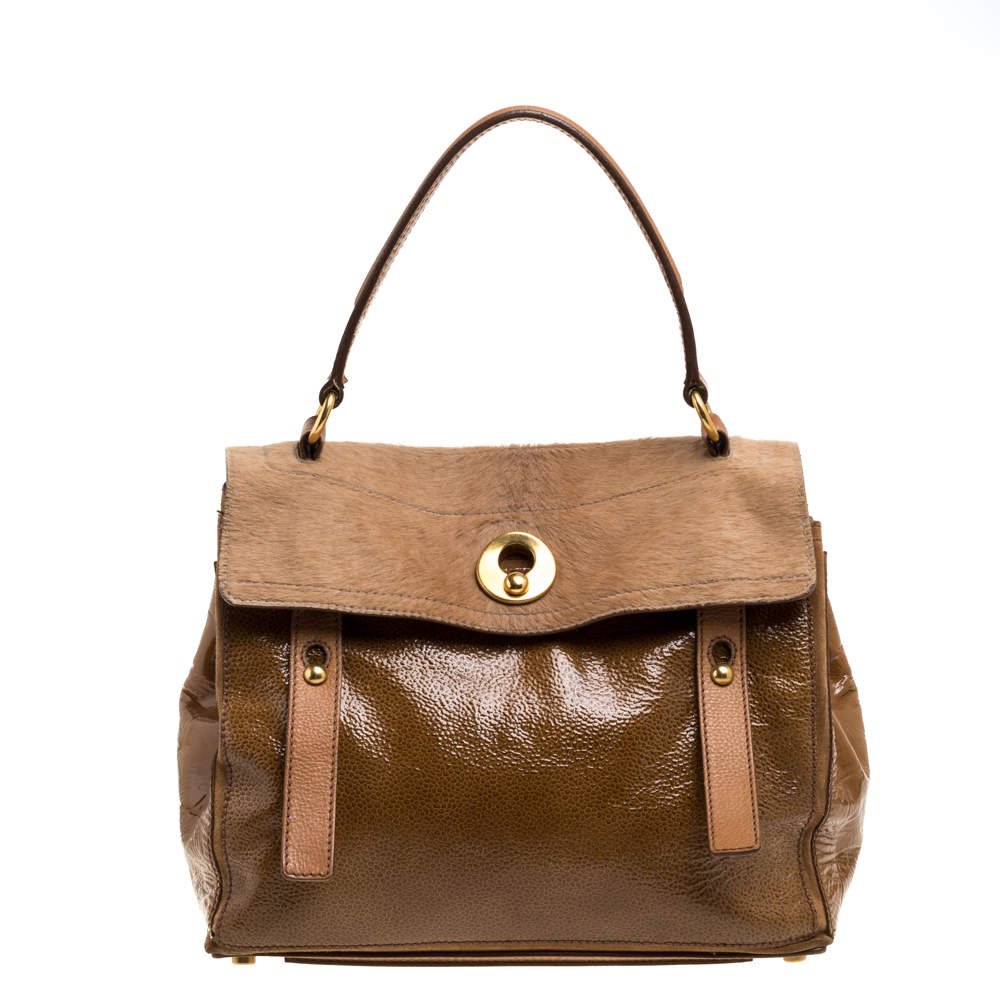 Yves Saint Laurent Tan Calfhair, Patent Leather and Suede Medium Muse Two Satchel