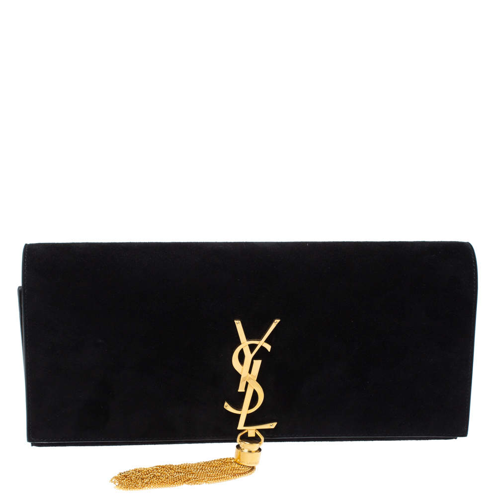 Saint Laurent Black Suede Kate Tassel Clutch