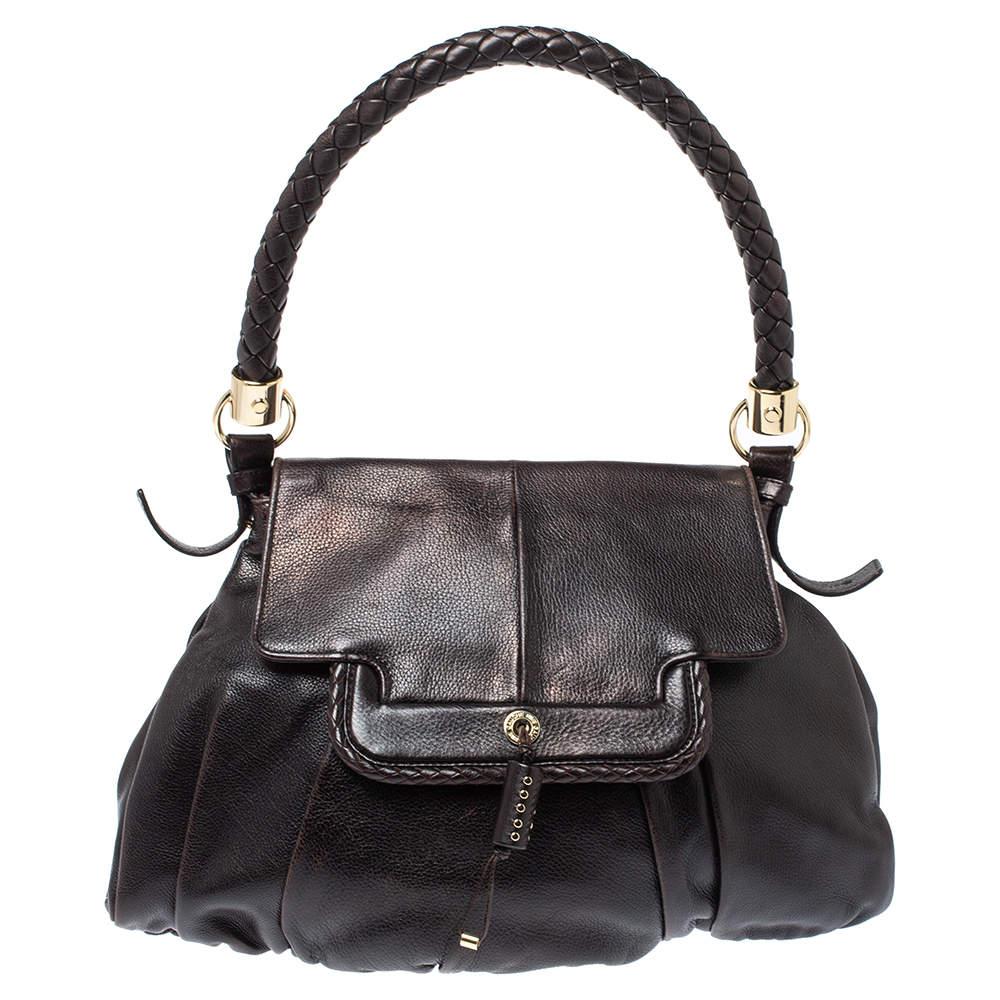Yves Saint Laurent Dark Brown Leather Satchel