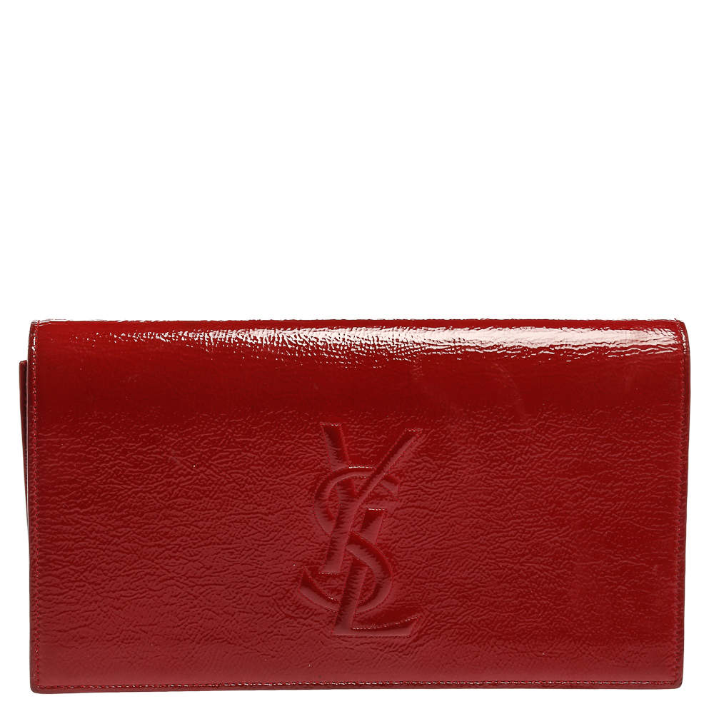Yves Saint Laurent Red Patent Leather Belle De Jour Flap Clutch