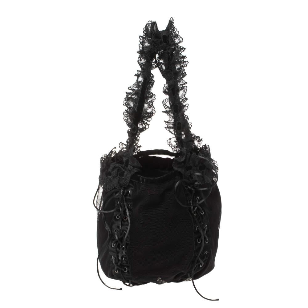 Saint Laurent Black Mesh and Lace Up Corset Bag