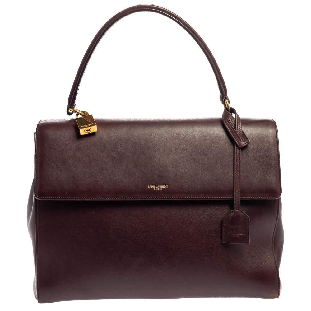 Saint Laurent Burgundy Leather Medium Moujik Top Handle Bag