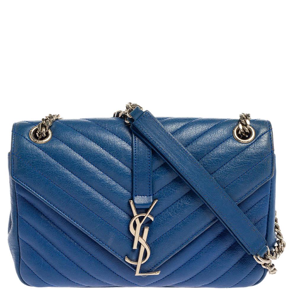 Saint Laurent Blue Chevron Leather Medium Monogram Flap Bag