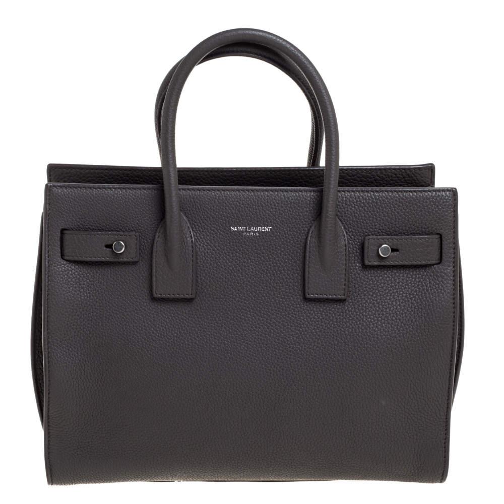 حقيبة يد سان لوران باريس كلاسيك بيبي ساك دو جور جلد رمادية