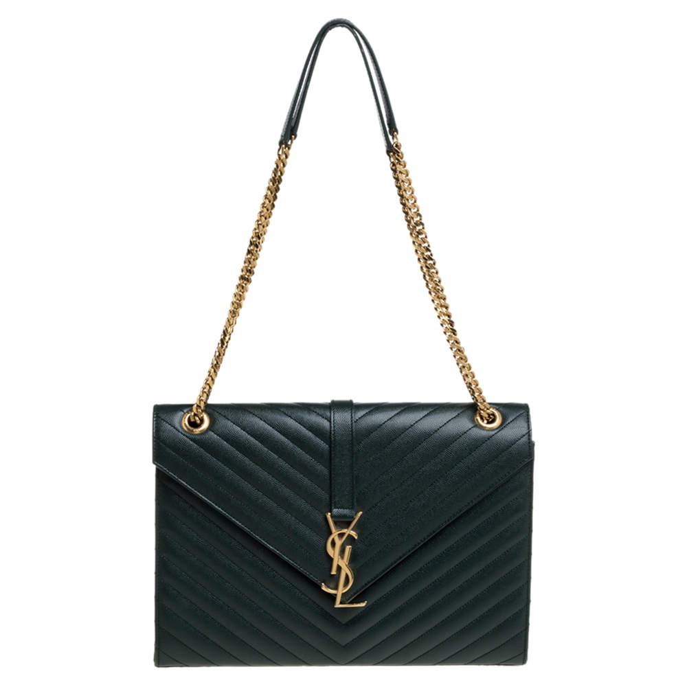 Saint Laurent Green Matelasse Leather Large Cassandre Flap Bag
