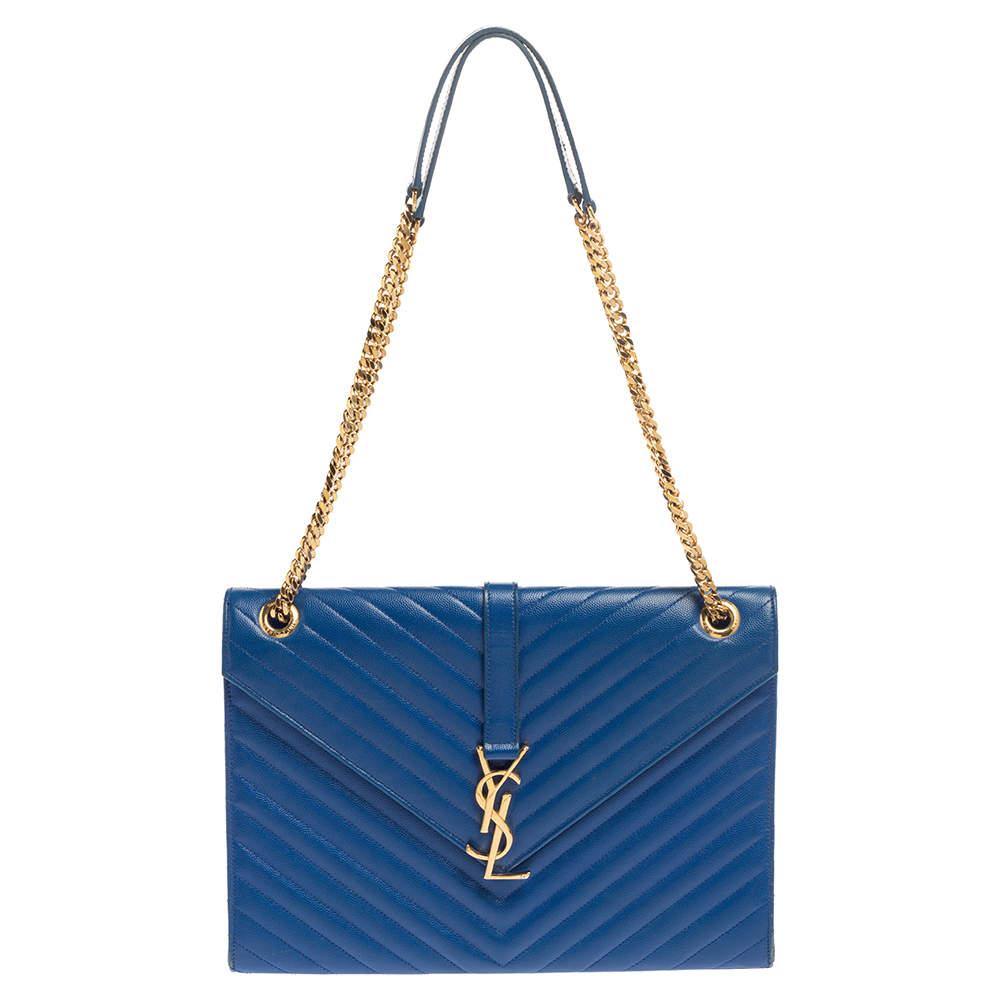 Saint Laurent Blue Matelasse Leather Large Cassandre Flap Bag