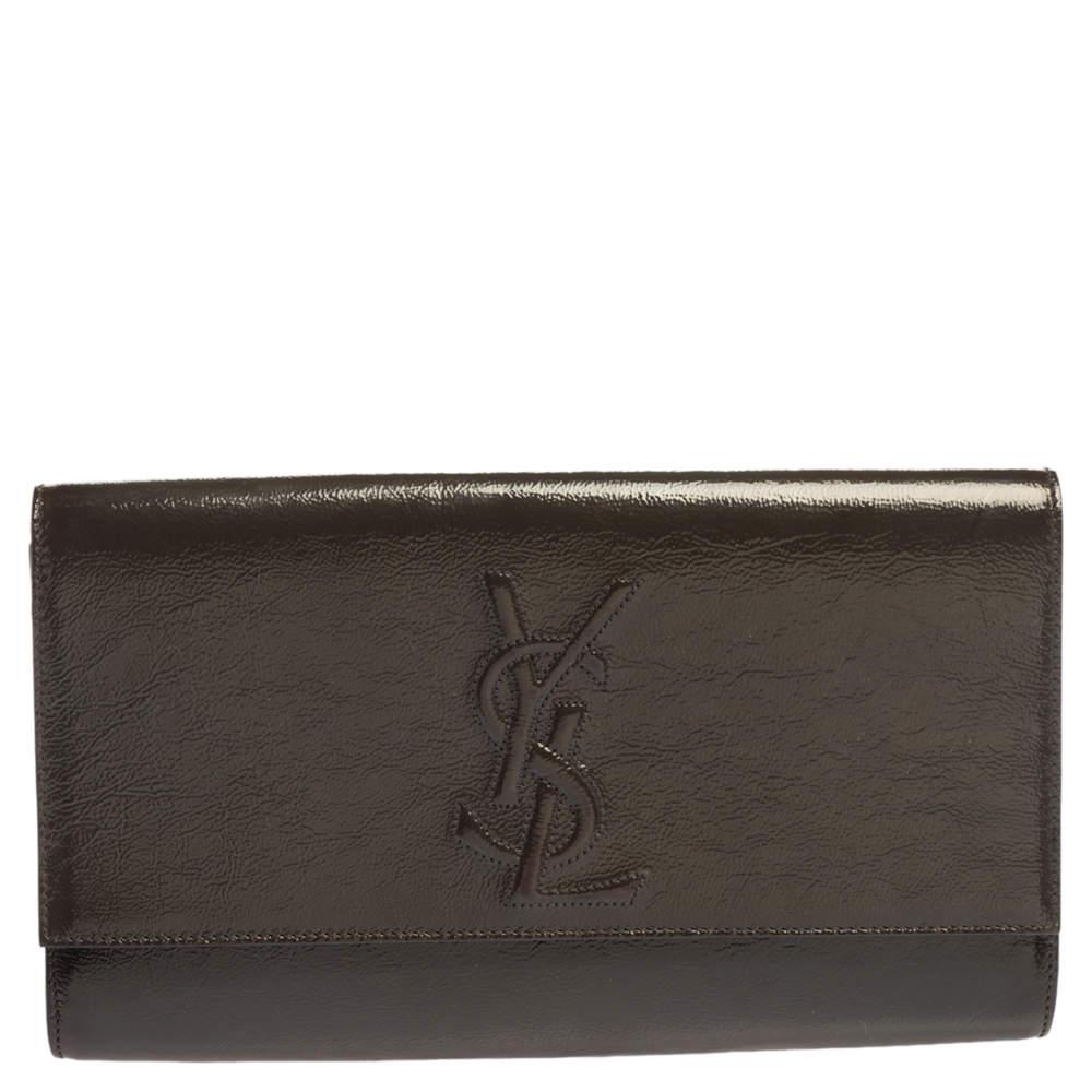 Yves Saint Laurent Olive Green Patent Leather Belle De Jour Flap Clutch