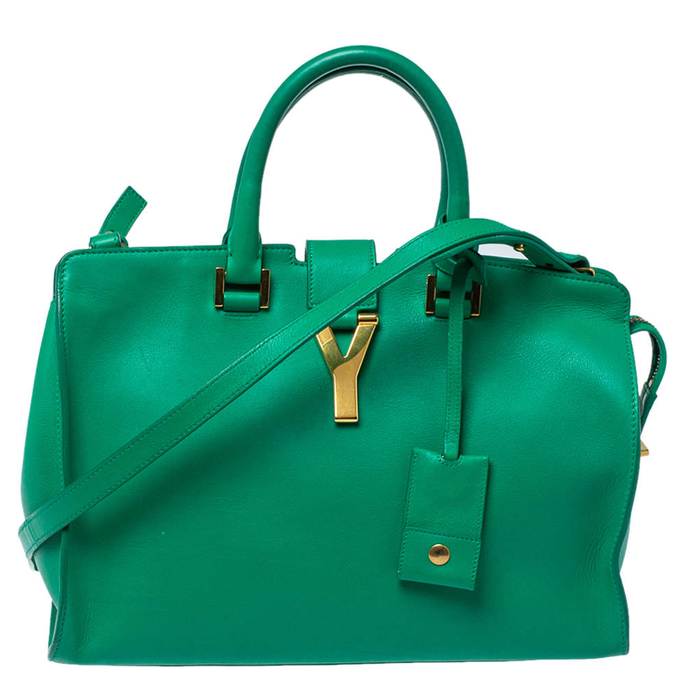 Saint Laurent Green Leather Small Cabas Y-Ligne Tote