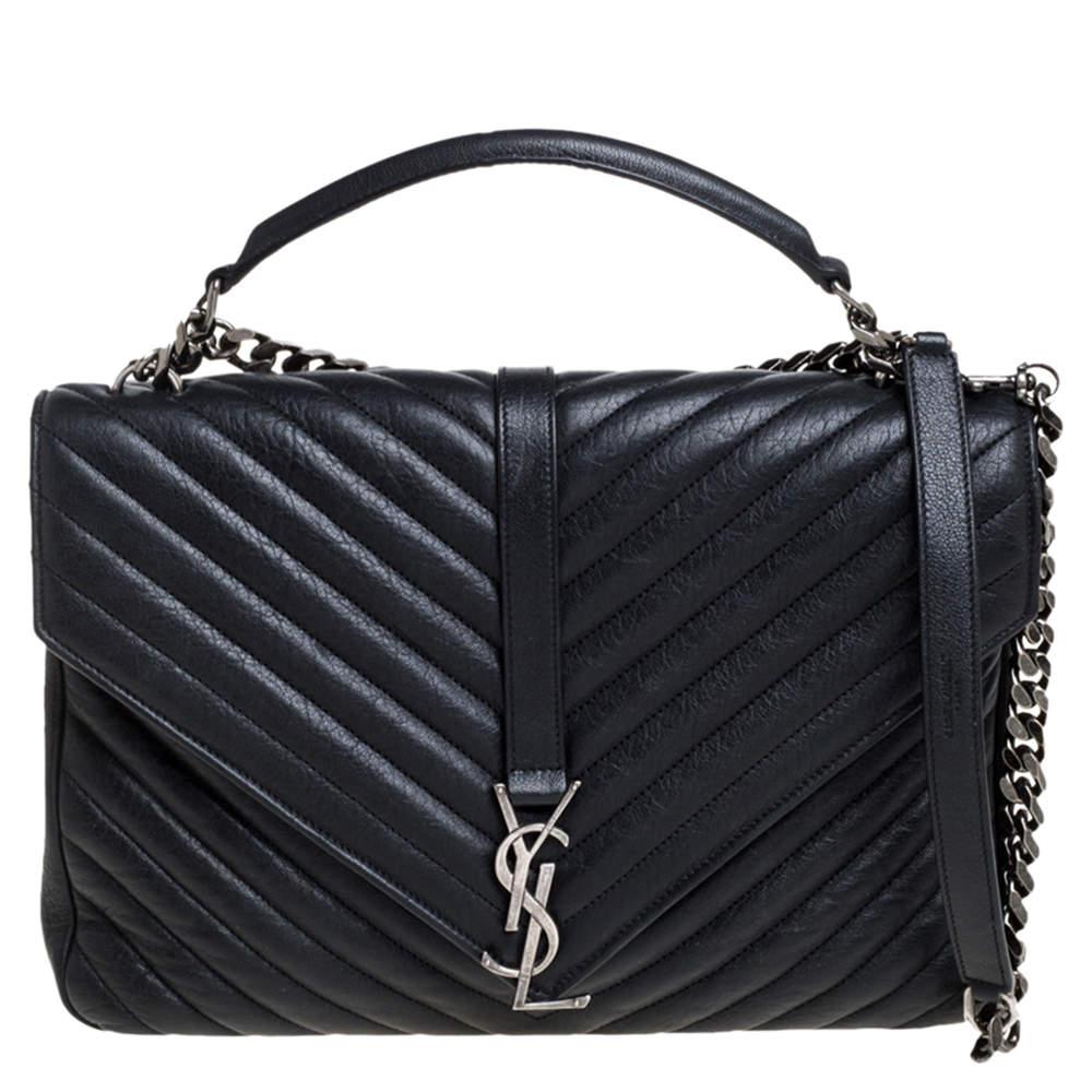 Saint Laurent Black Matelasse Leather Large College Top Handle Bag