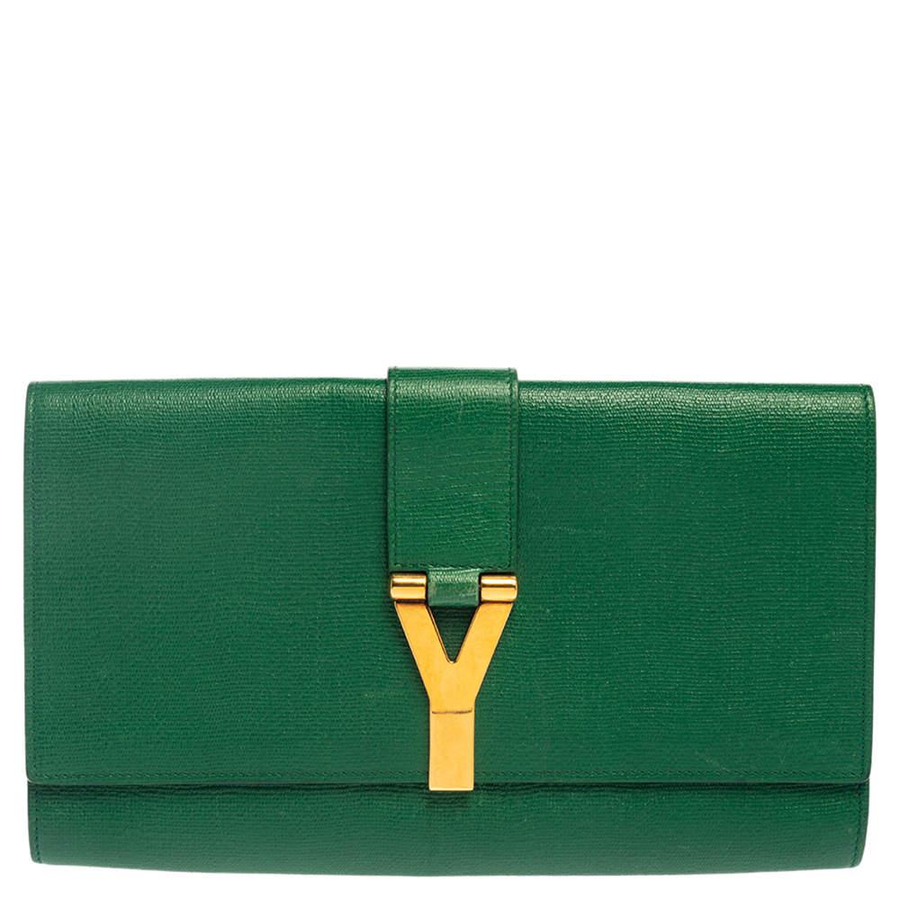 Yves Saint Laurent Green Leather Y-Ligne Clutch