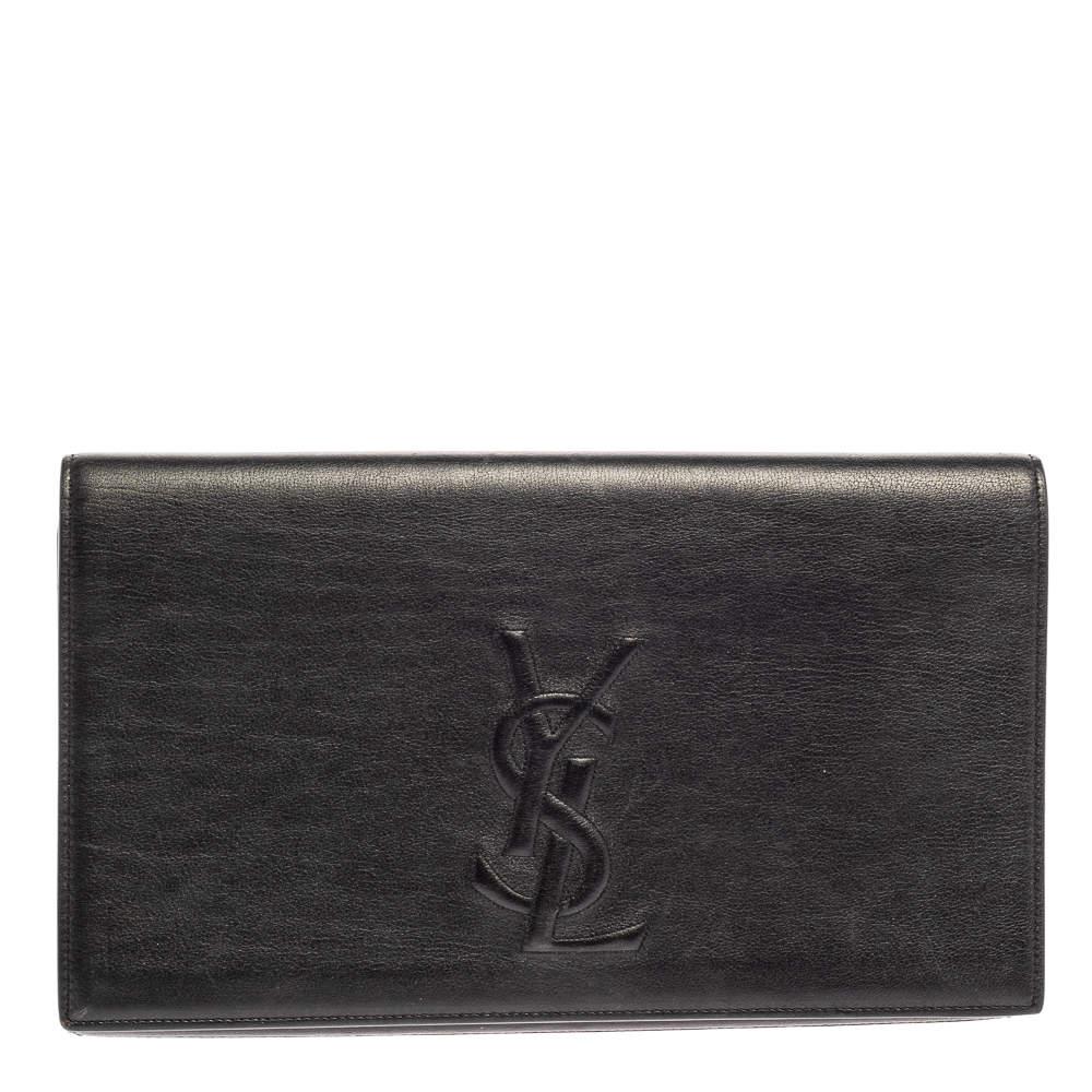 Saint Laurent Black Leather Belle De Jour Flap Clutch