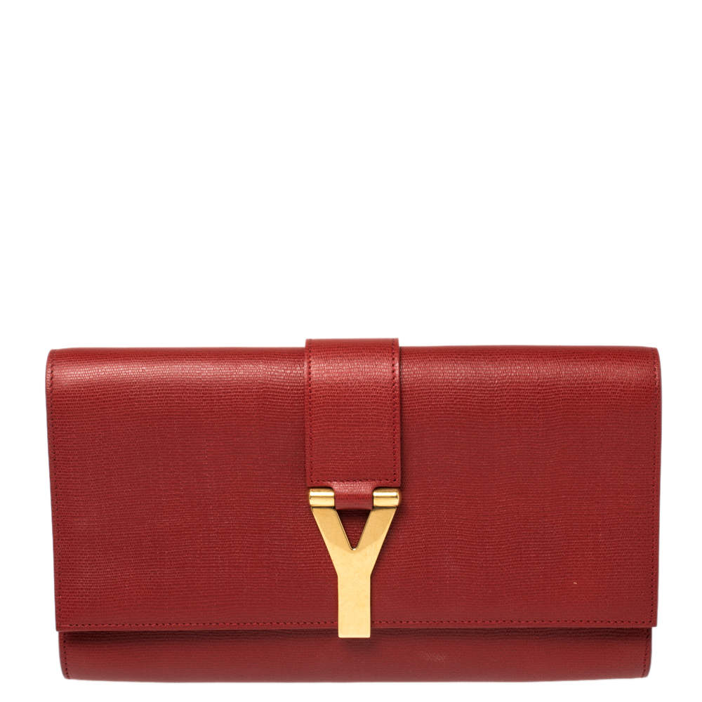 Yves Saint Laurent Red Texured Leather Y-Ligne Clutch