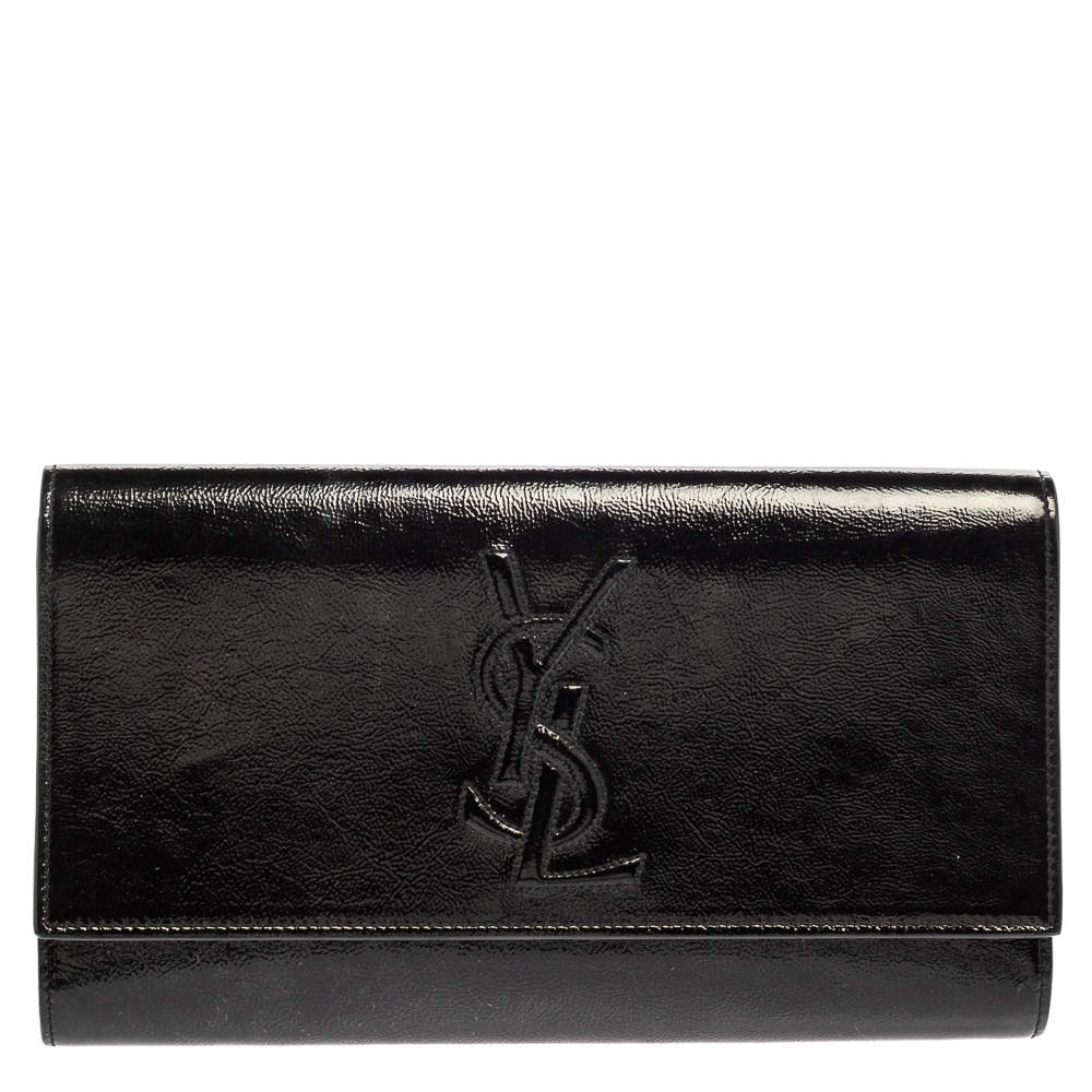Saint Laurent Black Patent Leather Belle De Jour Flap Clutch
