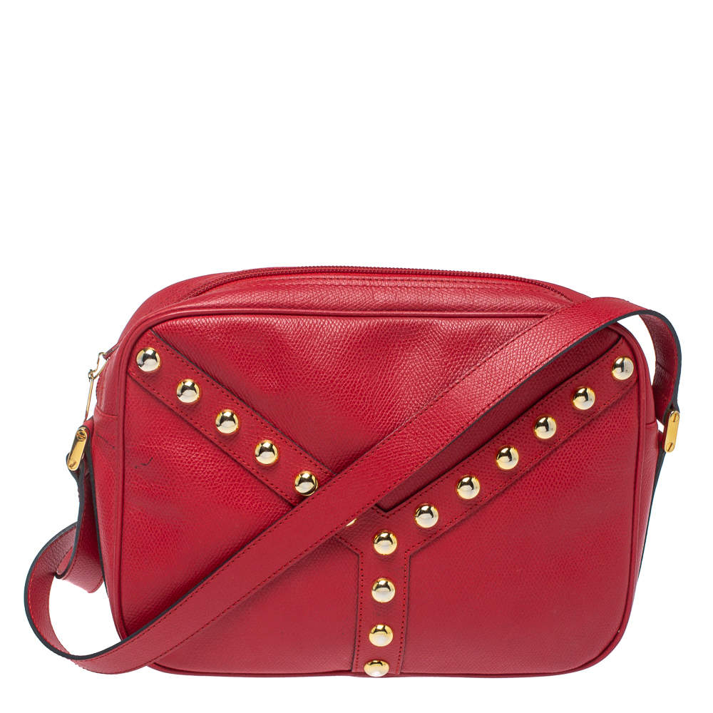 Yves Saint Laurent Red Studded Leather Y Shoulder Bag