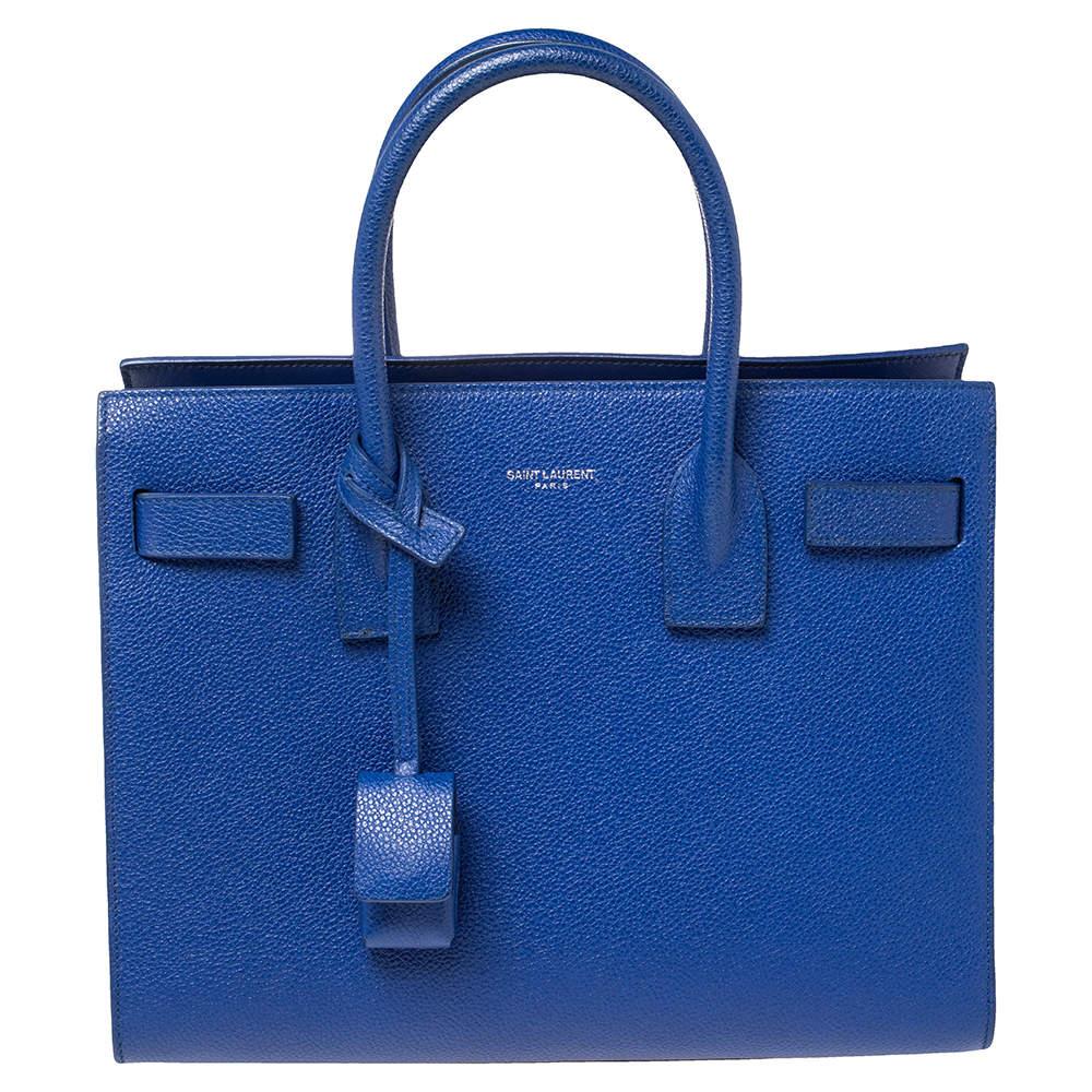 Saint Laurent Blue Leather Baby Classic Sac De Jour Tote
