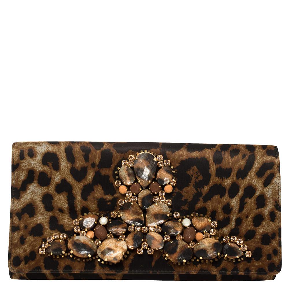 Saint Laurent Brown/Black Leopard Print Satin Crystal Embellished Flap Clutch