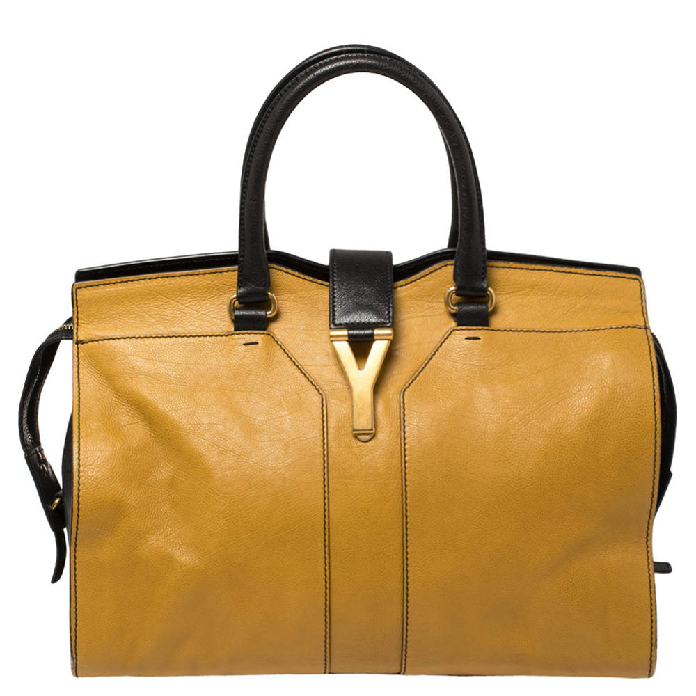 Yves Saint Laurent Mustard/Black Leather Medium Cabas Y-Ligne Tote