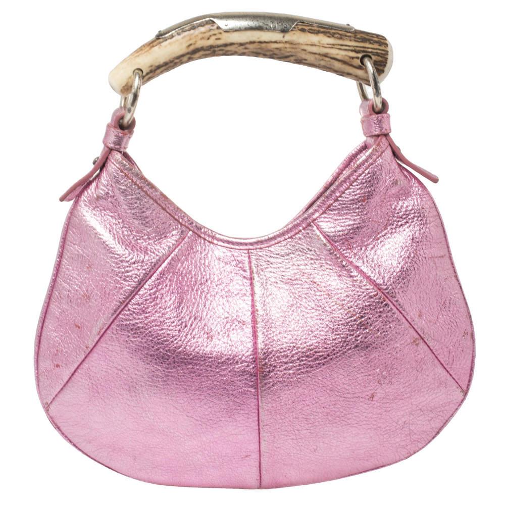 Yves Saint Laurent Metallic Pink Leather Mombasa Hobo